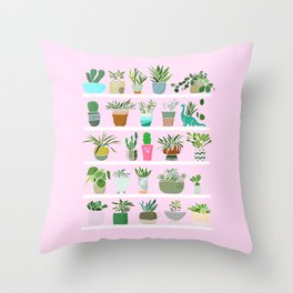 Shelfie cactus print Throw Pillow