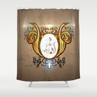music notes Shower Curtains featuring Key notes  by nicky2342