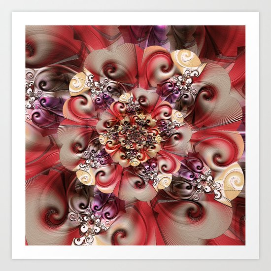 Relief Blossom red Art Print