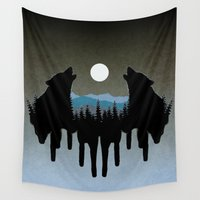 wolves Wall Tapestries featuring Wolves by Viktor Macháček