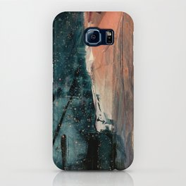 Same Stars [2] - an abstract mixed media piece in blues, pinks, and black iPhone Case