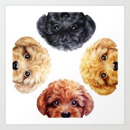 Toy poodle friends mix, Dog illustration original painting print Art Print