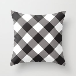 Gingham - Black Throw Pillow