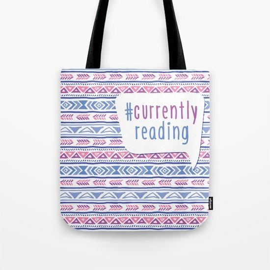 #CurrentlyReading Triabal print Tote Bag
