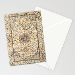 Persia Isfahan Old Century Authentic Colorful Light Yellow Dusty Blue Vintage Rug Pattern Stationery Cards