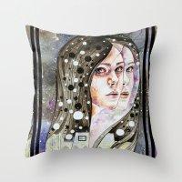 nightmare Throw Pillows featuring Nightmare by Veronika Weroni Vajdová