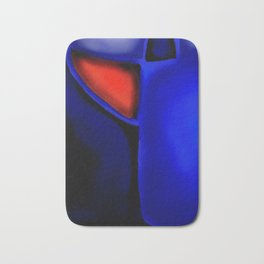 Abstraction in Lapis and Red Bath Mat
