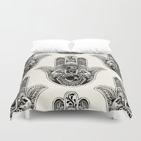 hamsa Duvet Covers featuring Hamsa Hand Pug by Huebucket