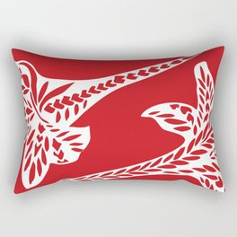 Retro Red Chic Polynesian Tribal Geometric Graphic Floral Tattoo Rectangular Pillow