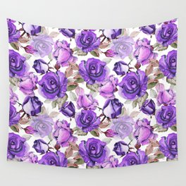 Violet lilac pink watercolor botanical roses floral Wall Tapestry