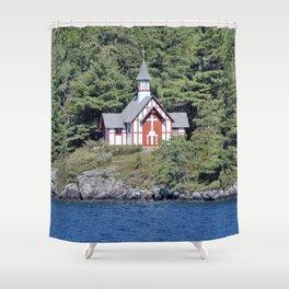 St Isaac Jogues Chapel, Hecker Island (Lake George, NY) Shower Curtain