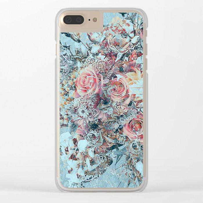 Lush vintage floral pastel wood panel Clear iPhone Case