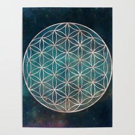 Mandala Flower of Life Rose Gold Space Stars Poster