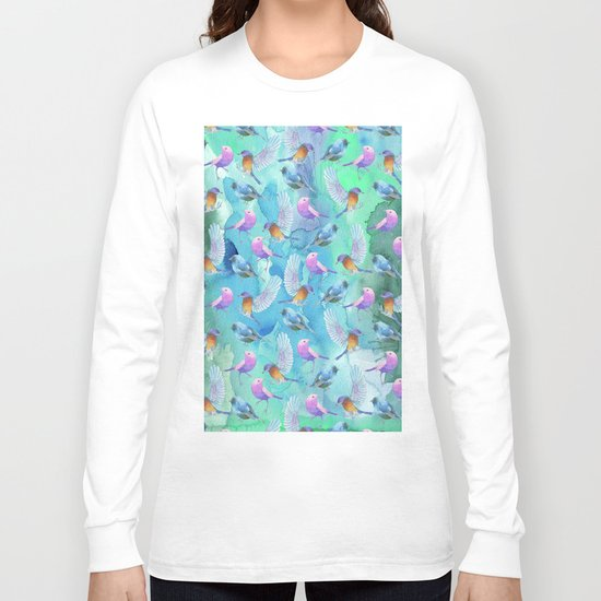 Birds in the sky- Bird animal pattern on aqua backround Long Sleeve T-shirt