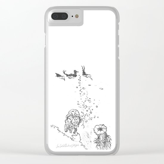 Two Tailed Duck and Jellyfish White Clear iPhone Case
