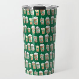 Coffee Cup Line Up in Green Travel Mug