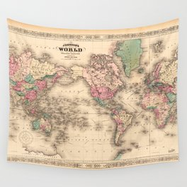 1861 World Map - Johnson's World on Mercators Projection Wall Tapestry