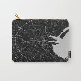 Black on Light Gray Dublin Street Map Carry-All Pouch