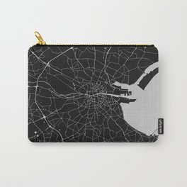 Black on Light Gray Dublin Street Map Carry-All Pouch