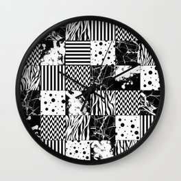 Eclectic Black and White Squares Wall Clock