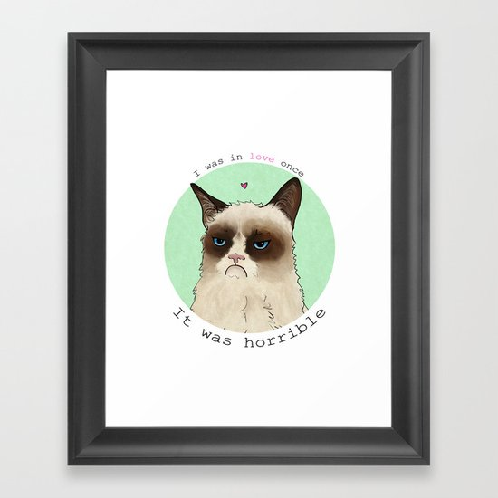 Grumpy cat love Framed Art Print