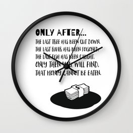 Only After the last Tree has been cut Wall Clock