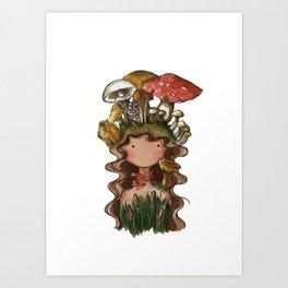 Mushroom hair Art Print