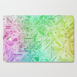 Bright Gradient (Violet Purple Lime Green Neon Yellow) Geometric Pattern Print Cutting Board