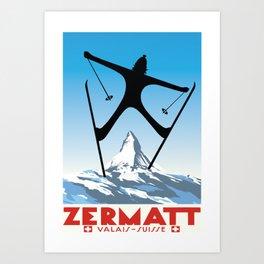 Zermatt,Valais,Suisse,Ski Poster Art Print