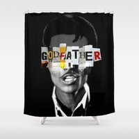the godfather Shower Curtains featuring Godfather Mix 1 black by Marko Köppe
