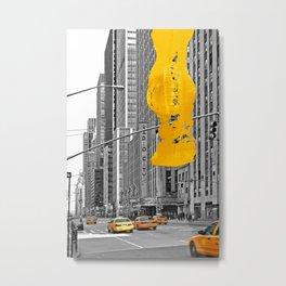 NYC Yellow Cabs - Music Hall - Brush Stroke Metal Print