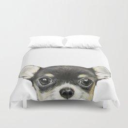 Chihuahua mix color Dog illustration original painting print Duvet Cover