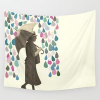 rain Wall Tapestries featuring Rain Dance by Cassia Beck