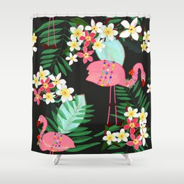 Tropical Pattern With Frangipani and Flamingo Shower Curtain