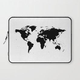 Black Ink World Map Laptop Sleeve