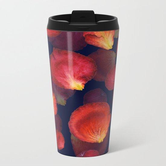 Rose Petal Pattern on Darck 04 Metal Travel Mug
