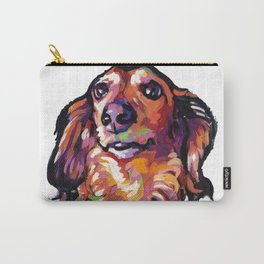 Dachshund Fun Dog Portait bright colorful Pop Art Painting by LEA Carry-All Pouch