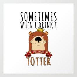 Otter Marten Weasel Wine Drinking Funny Animal Gift Art Print