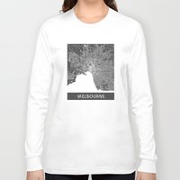 melbourne Long Sleeve T-shirts featuring Melbourne map by Map Map Maps