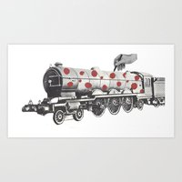 trainspotting Art Prints featuring Trainspotting by Rachael Pegram
