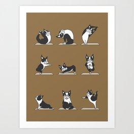 Boston Terriers Yoga Art Print