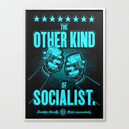 """Vintage """"The Other Kind of Socialist"""" Alcoholic Lithograph Advertisement in Blue Canvas Print"""