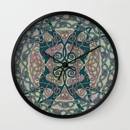 Art Nouveau Greyhounds - Pale Green Wall Clock