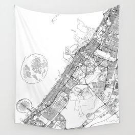 Dubai White Map Wall Tapestry