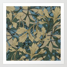 Teal Blue, Green and Gold - leaves art nouveau Art Print