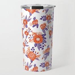 University football fan alumni clemson orange and purple floral flowers gifts Travel Mug