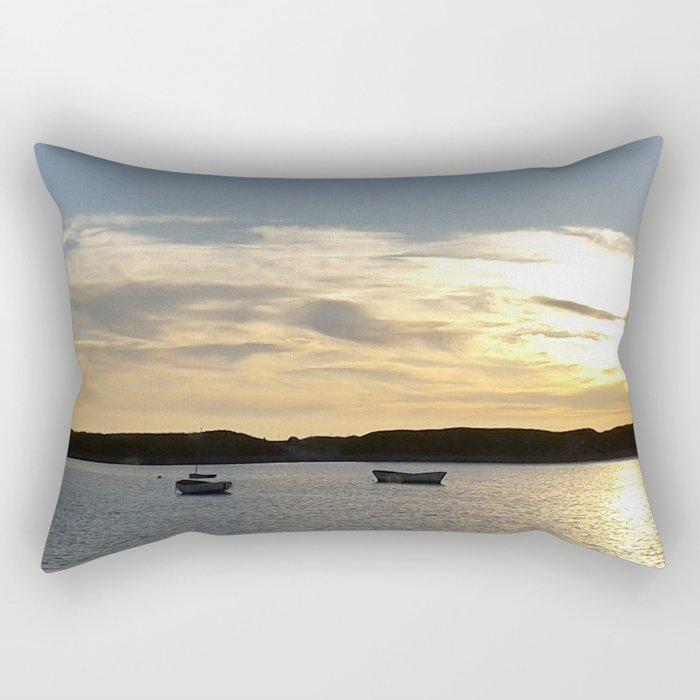 Sunset over Lancashire sea fishing boats  Rectangular Pillow