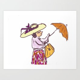 Grandma in the Rain Art Print