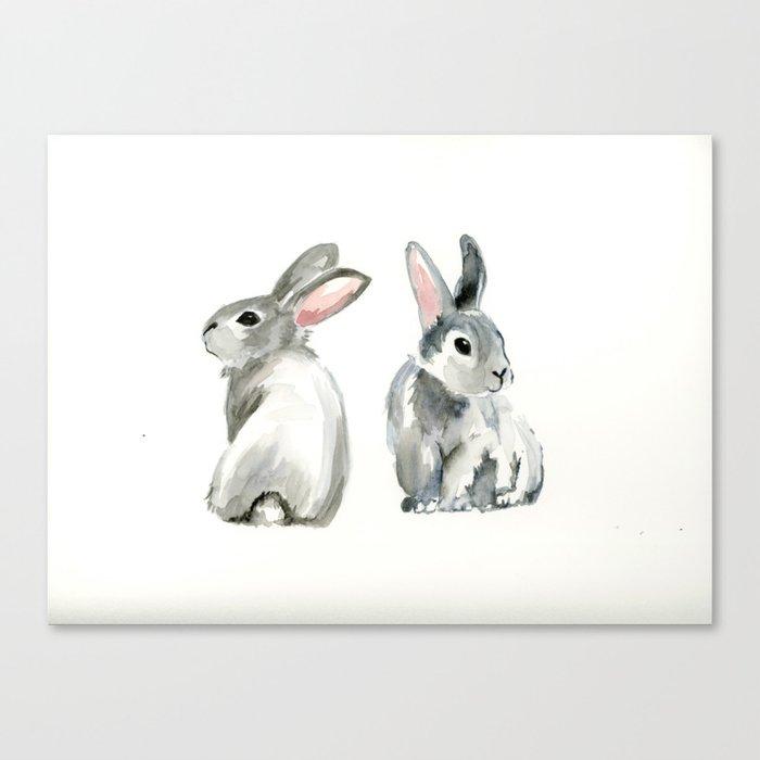 baby rabbit sister watercolor painting  Canvas Print