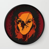 horror Wall Clocks featuring Horror by Square Lemon